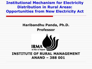 Institutional Mechanism for Electricity Distribution in Rural Areas: Opportunities from New Electricity Act