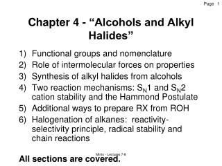 """Chapter 4 - """"Alcohols and Alkyl Halides"""""""