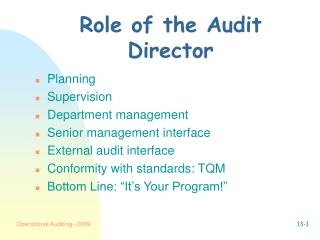 Role of the Audit Director