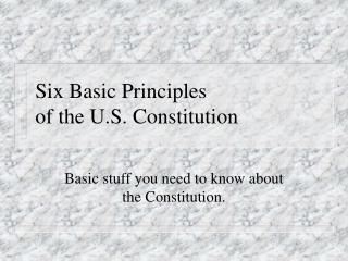 Six Basic Principles  of the U.S. Constitution