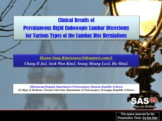 Clinical Results of  Percutaneous Rigid Endoscopic Lumbar Discectomy  for Various Types of the Lumbar Disc Herniations