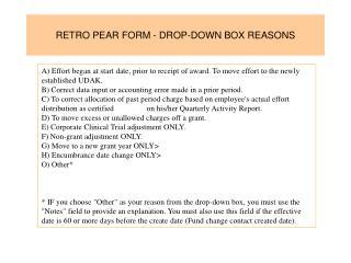 RETRO PEAR FORM - DROP-DOWN BOX REASONS