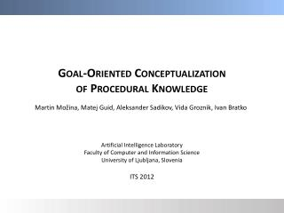 Goal-Oriented Conceptualization of Procedural Knowledge