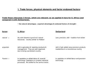 1. Trade forces, physical elements and factor endowed factors : Trade theory discusses 3 forces, which are relevant; so