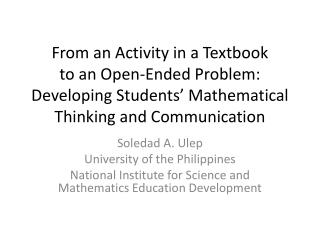 From an Activity in a Textbook  to an Open-Ended Problem:  Developing Students' Mathematical Thinking and Communication
