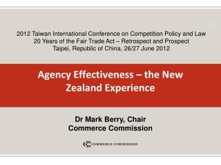 Agency Effectiveness – the New Zealand Experience