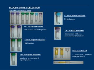 BLOOD $ URINE COLLECTION