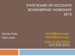 State Board of Accounts Bookkeeping Workshop 2010