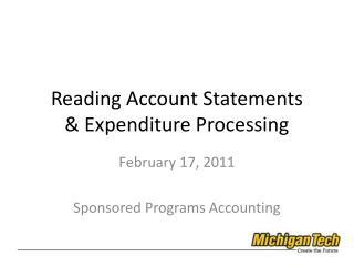 Reading Account Statements & Expenditure Processing