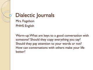 Dialectic Journals