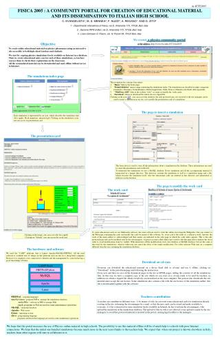 FISICA 2005 : A COMMUNITY PORTAL FOR CREATION OF EDUCATIONAL MATERIAL AND ITS DISSEMINATION TO ITALIAN HIGH SCHOOL