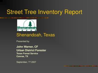 Street Tree Inventory Report