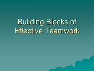 Building Blocks of Effective Teamwork
