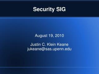 Security SIG