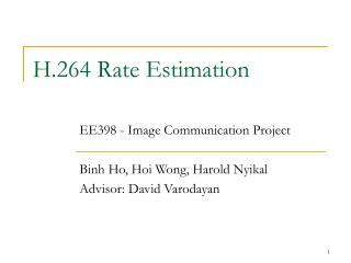 H.264 Rate Estimation