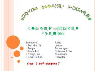 Members:Role: Tan Mian QiLeader TanyaEncourager Jamie Loh Noise-controller Cheryl Loh Questioner Chia Rui Fe