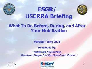 ESGR/  USERRA Briefing What To Do Before, During, and After Your Mobilization Version – June 2011 Developed by: