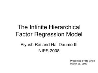 The Infinite Hierarchical Factor Regression Model