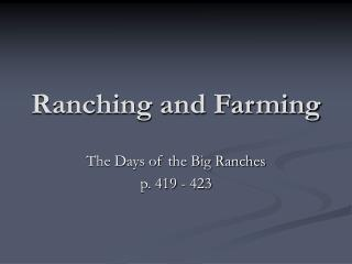 Ranching and Farming