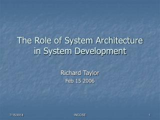 The Role of System Architecture in System Development