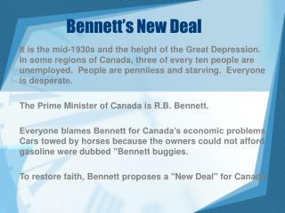 Bennett�s New Deal
