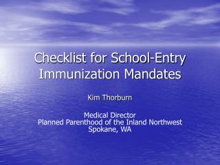 Checklist for School-Entry Immunization Mandates