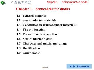 1.1   Types of material 1.2   Semiconductor materials 1.3   Conduction in semiconductor materials 1.4   The p-n junctio