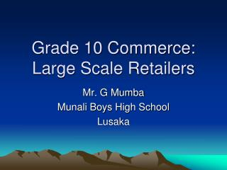 Grade 10 Commerce: Large Scale Retailers