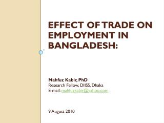 Effect of Trade on Employment in Bangladesh :
