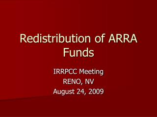 Redistribution of ARRA Funds
