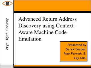 Advanced Return Address Discovery using Context-Aware Machine Code Emulation