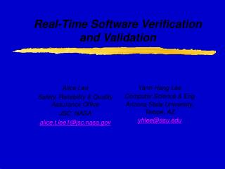 Real-Time Software Verification and Validation