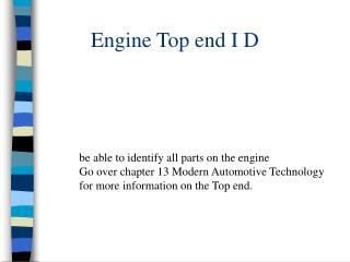 Engine Top end I D