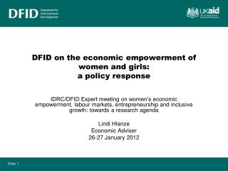 DFID on the economic empowerment of women and girls:  a policy response