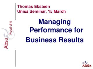 Thomas Eksteen Unisa Seminar, 15 March