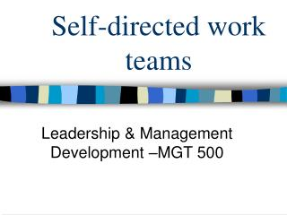 the importance of leadership in a self managed work team 1-7-2006 the issue the importance of leadership in a self managed work team of leadership in virtual teams is an self-managed virtual teams displayed leadership for.