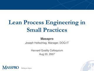 Lean Process Engineering in Small Practices