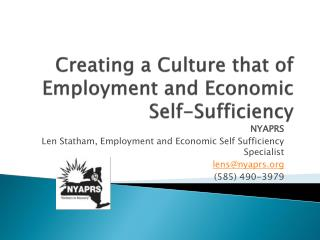 Creating a Culture that of Employment and Economic Self-Sufficiency