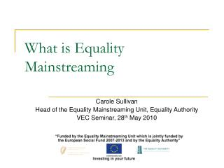 What is Equality Mainstreaming