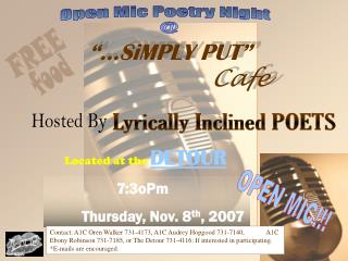 7:3oPm Thursday, Nov. 8 th , 2007