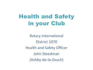 Health and Safety in your Club