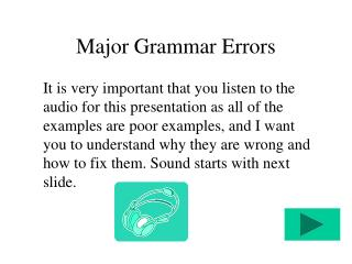 Major Grammar Errors