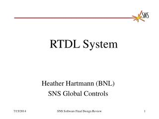 Heather Hartmann (BNL) SNS Global Controls