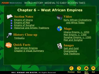 Chapter 6 � West African Empires