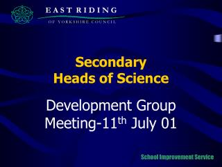 Secondary  Heads of Science