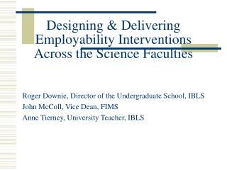Designing & Delivering Employability Interventions Across the Science Faculties
