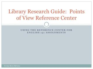 Library Research Guide:  Points of View Reference Center
