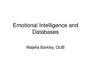 Emotional Intelligence and Databases