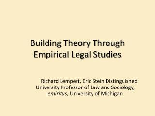 Building Theory Through Empirical Legal Studies