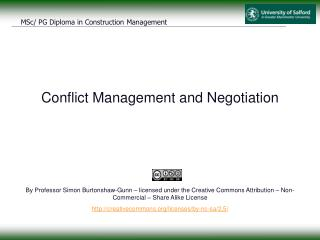 Conflict Management and Negotiation